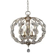 Leila 3 Light Chandellier in Burnished Silver and Bauhinia Crystal - FEISS FE/LEILA3